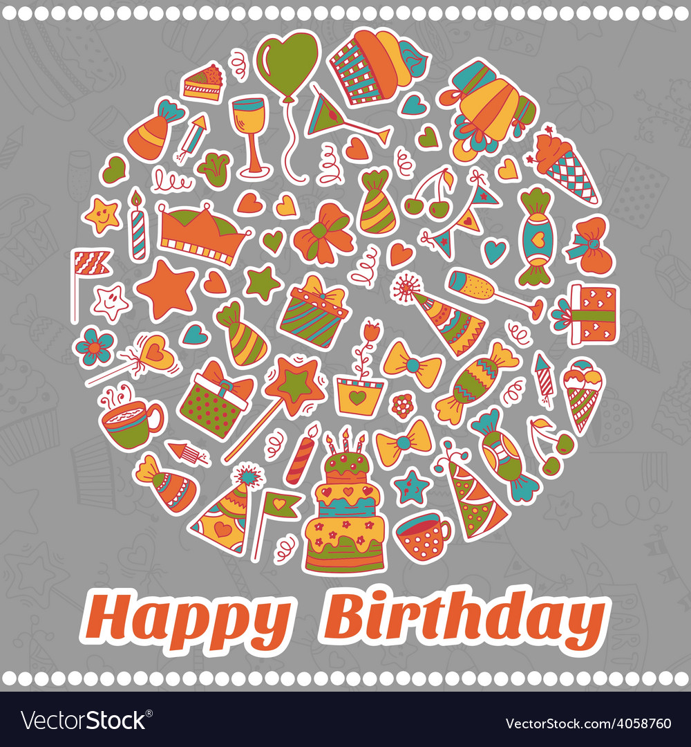 Happy birthday card hand drawn birthday elements vector | Price: 1 Credit (USD $1)