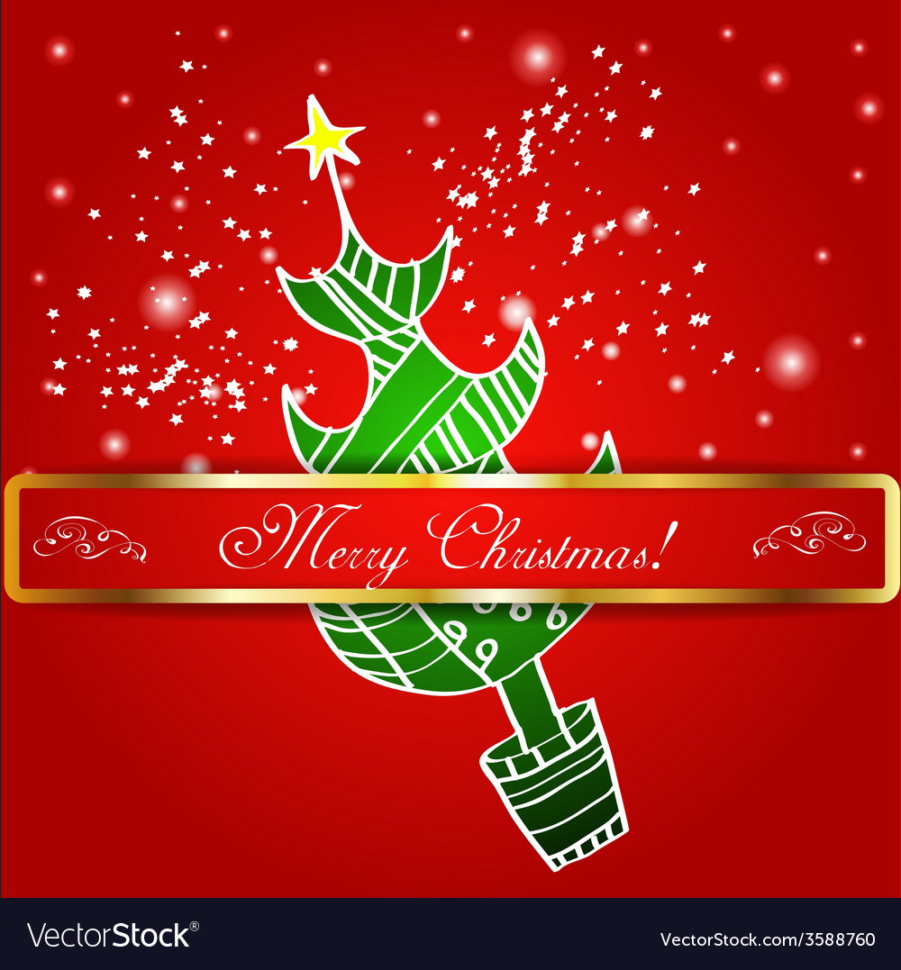 Merry christmas tree background vector   Price: 1 Credit (USD $1)