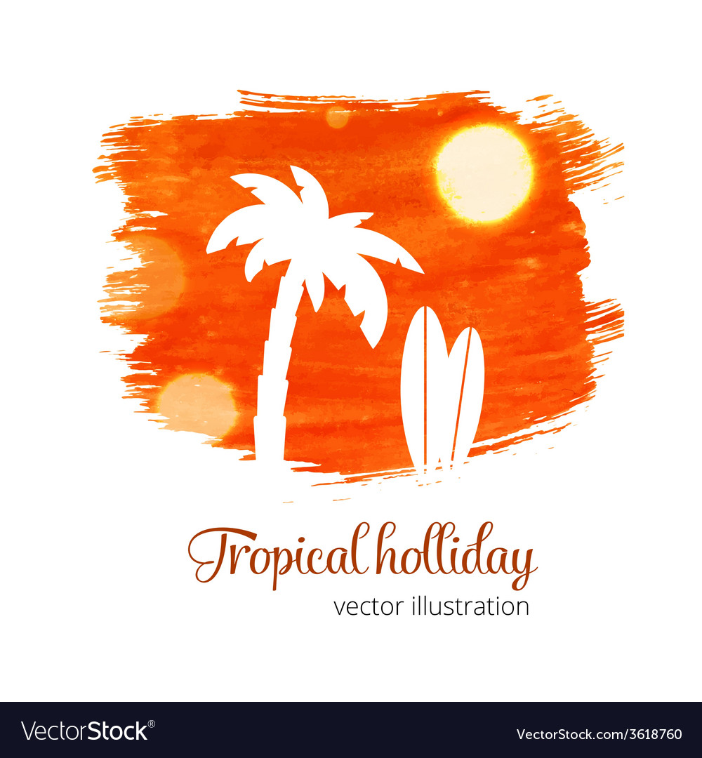 Orange watercolor splash with palm silhouette vector | Price: 1 Credit (USD $1)