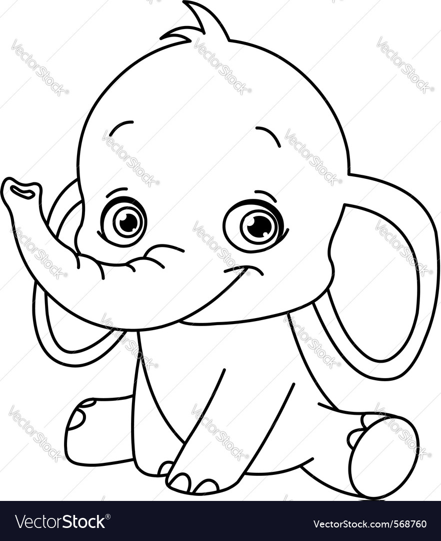 Outlined baby elephant vector | Price: 1 Credit (USD $1)