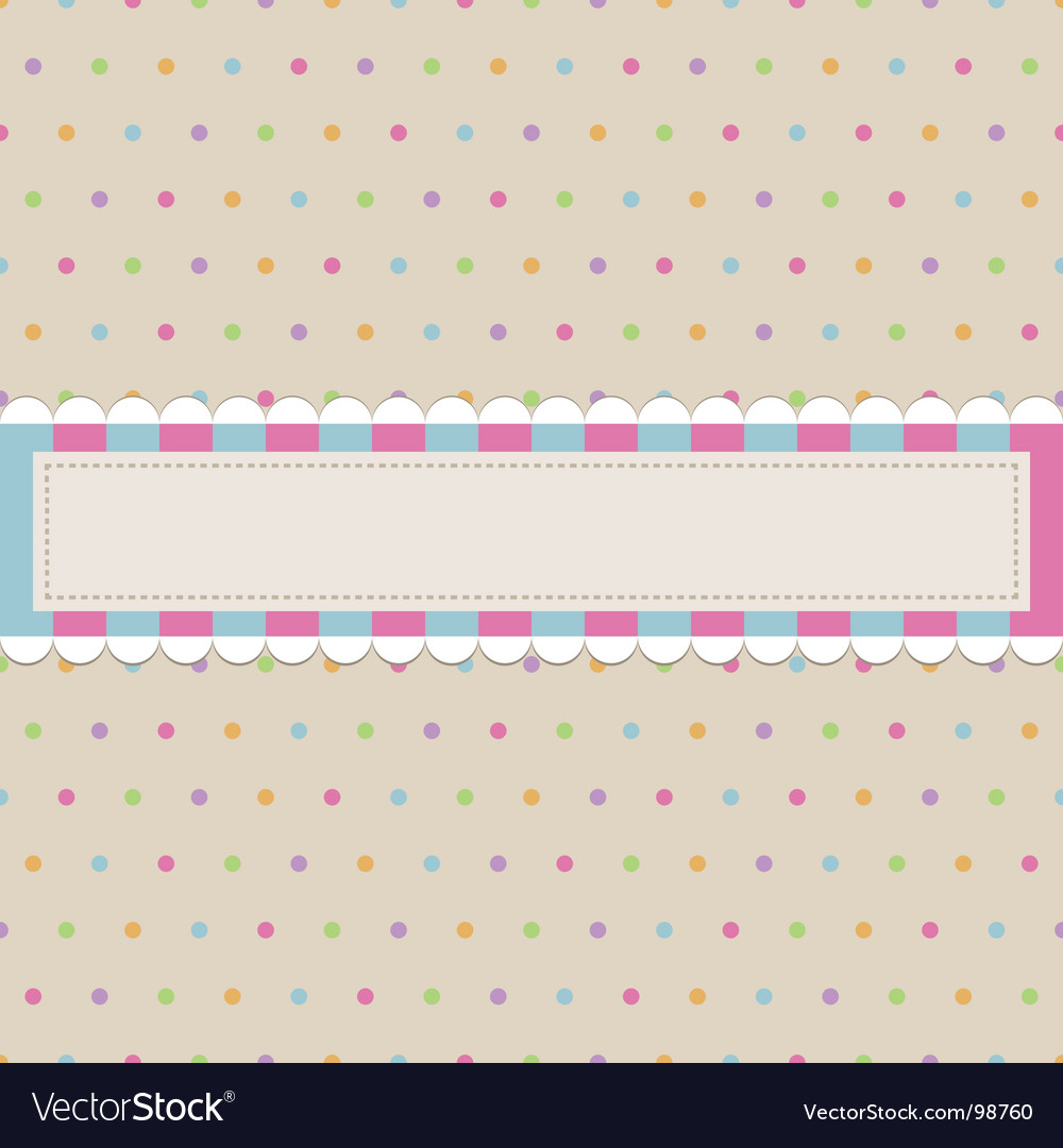 Retro polka dot with banner vector | Price: 1 Credit (USD $1)