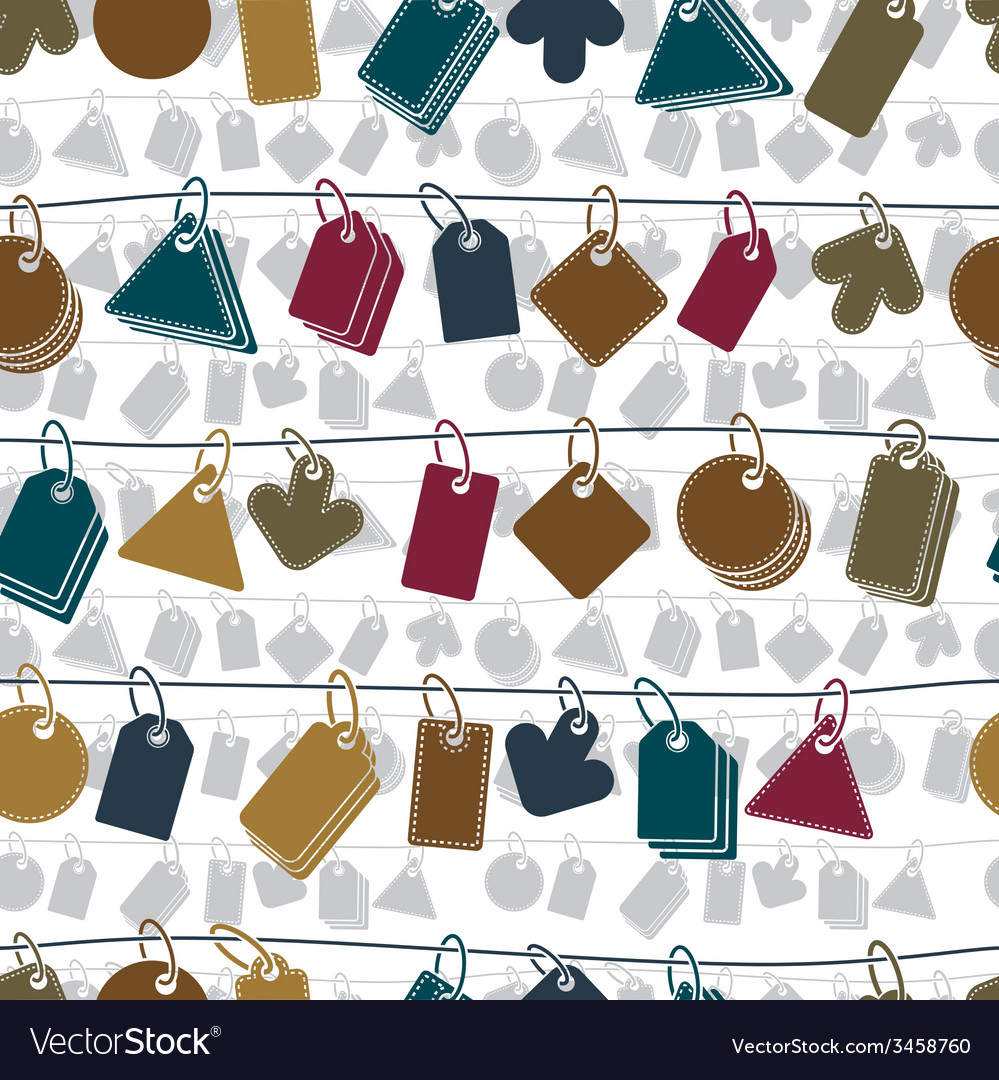 Sale tags on a rope seamless background icon set vector | Price: 1 Credit (USD $1)