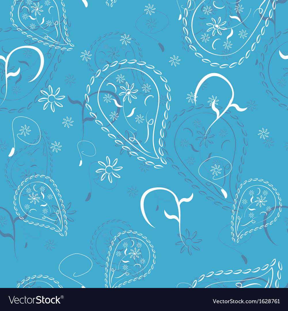 Blue abstract doodle flowers seamless pattern vector | Price: 1 Credit (USD $1)