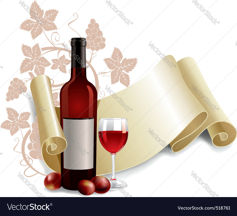 Bottle and goblet of wine vector | Price: 3 Credit (USD $3)