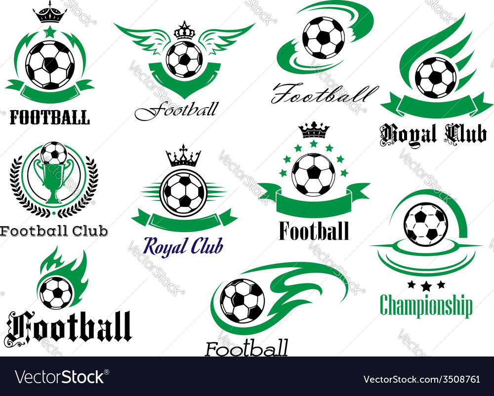 Football emblems and logo isolated on white set vector | Price: 1 Credit (USD $1)