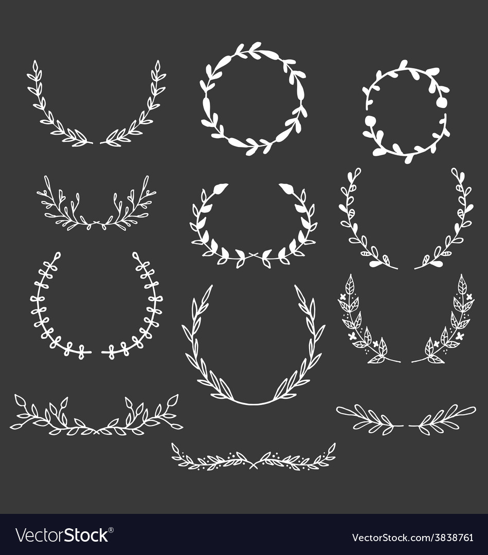 Hand drawn laurels wreaths doodle set vector | Price: 1 Credit (USD $1)