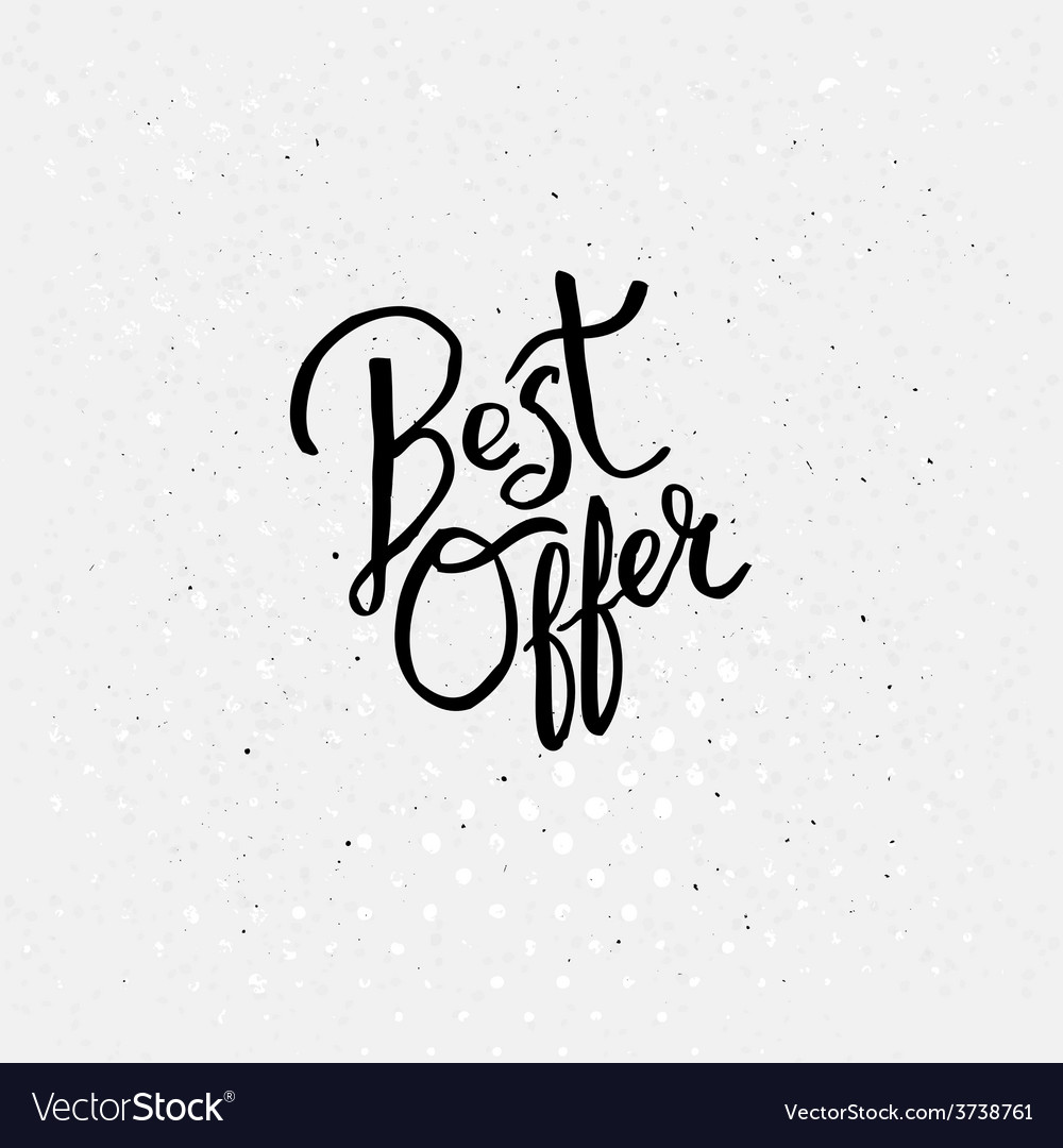 Handwriting design for best offer concept vector | Price: 1 Credit (USD $1)