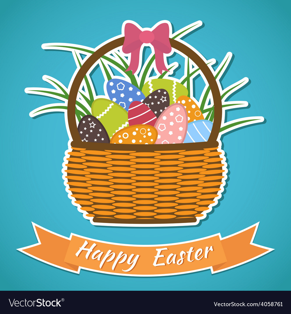 Happy easter card basket with easter eggs easter vector | Price: 1 Credit (USD $1)