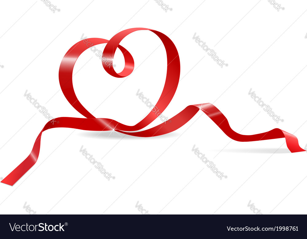 Heart of red ribbon vector | Price: 1 Credit (USD $1)