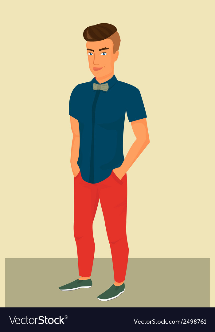 Hipster guy wearing stylish haircut vector | Price: 1 Credit (USD $1)