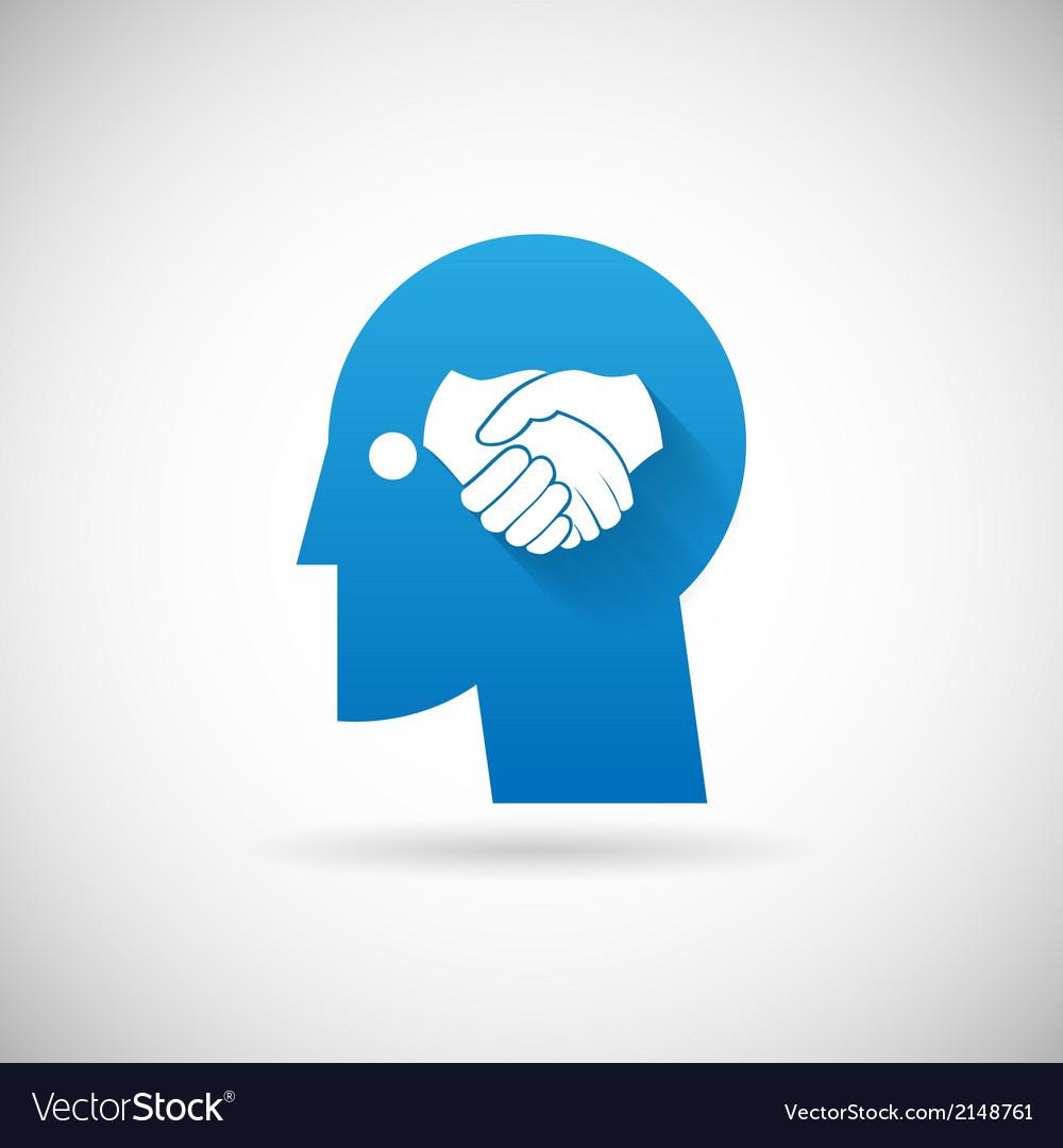 Partnership symbol handshake in head silhouette vector   Price: 1 Credit (USD $1)