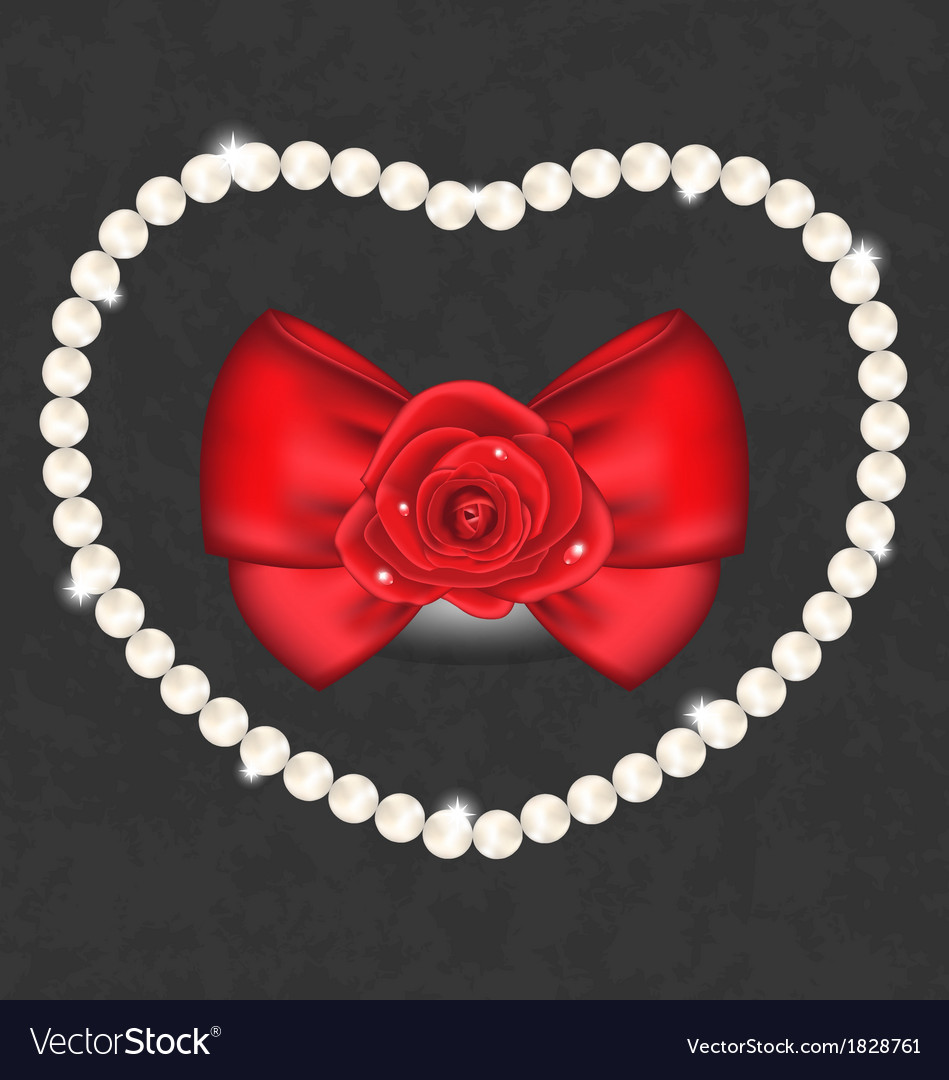 Red rose with bow and pearls for valentine day vector | Price: 1 Credit (USD $1)