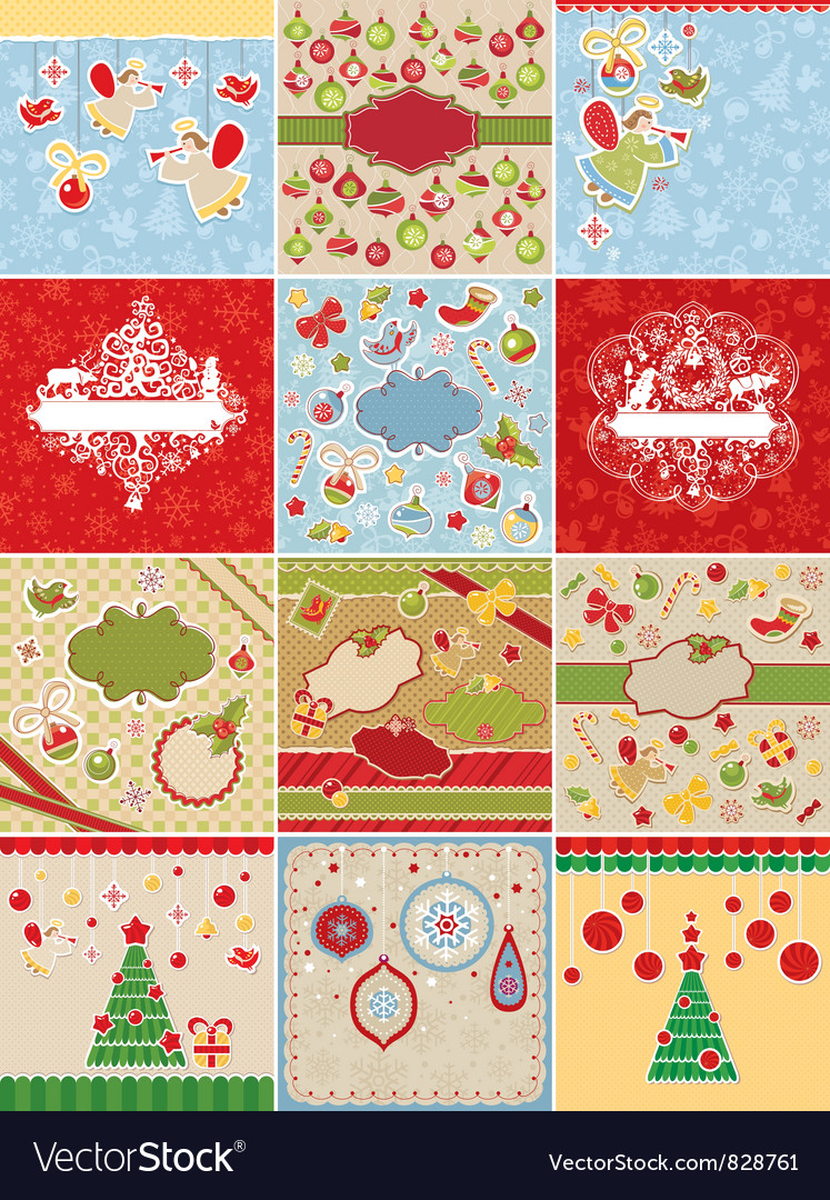 Set of christmas cards and design elements vector | Price: 3 Credit (USD $3)