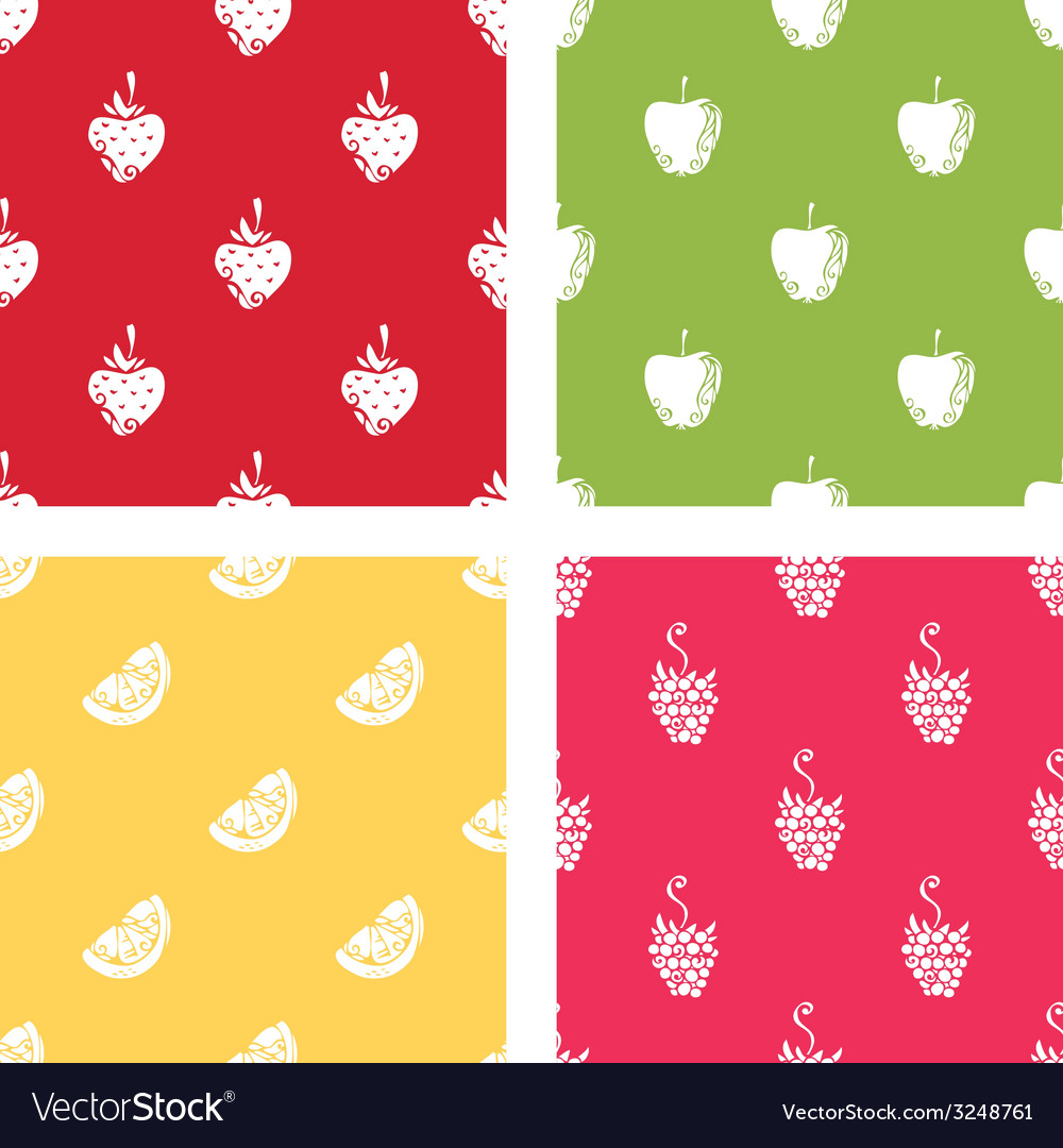 Set of seamless patterns of fruits vector | Price: 1 Credit (USD $1)