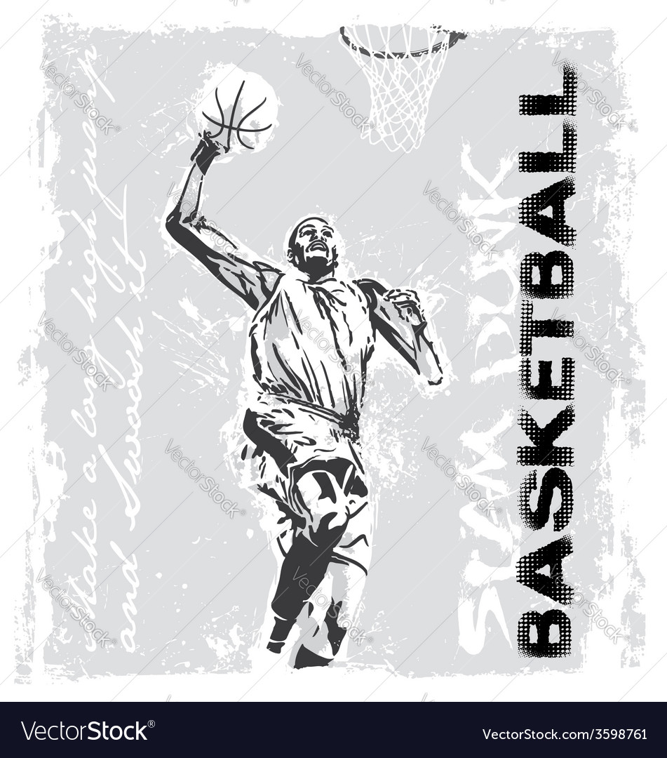 Slam dunk basketball player vector | Price: 1 Credit (USD $1)