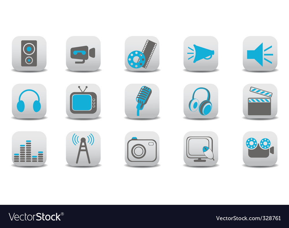 Video and audio icons vector | Price: 1 Credit (USD $1)