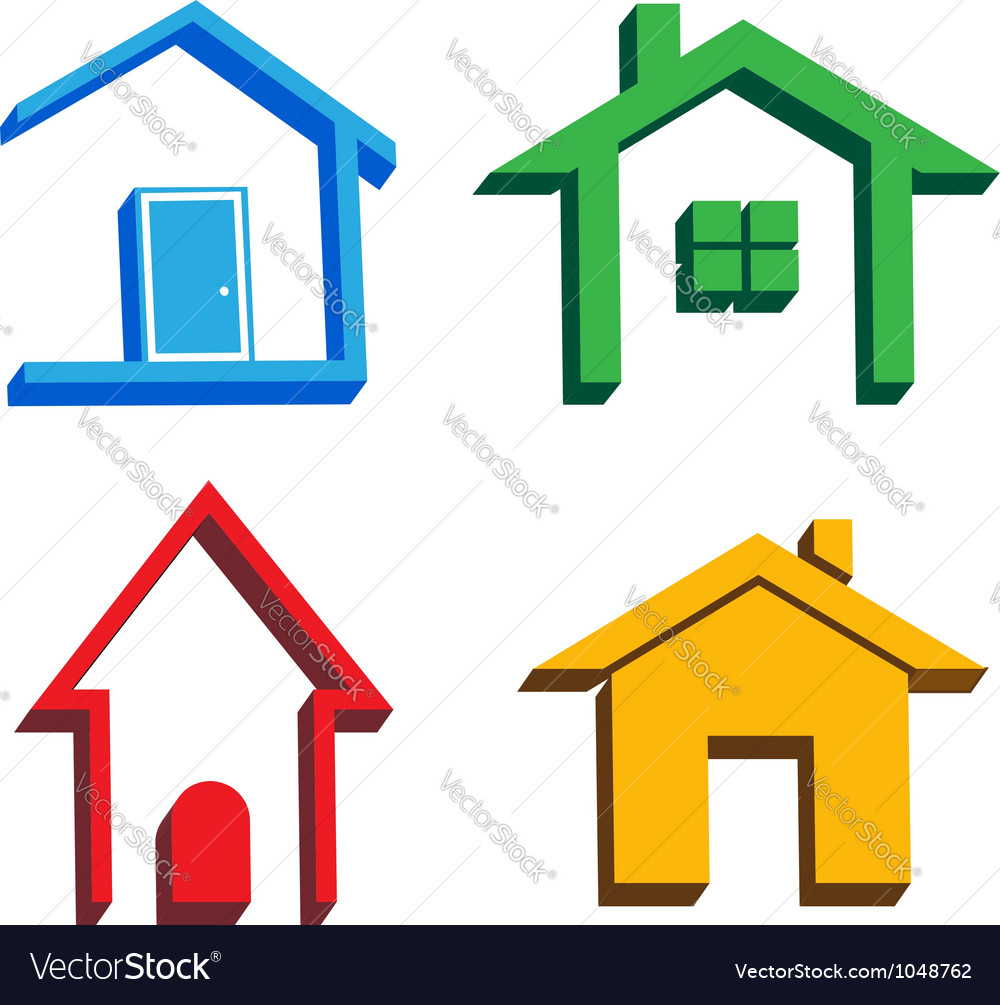 3d houses icons vector | Price: 1 Credit (USD $1)