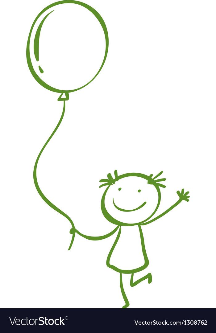 A girl holding a balloon vector | Price: 1 Credit (USD $1)