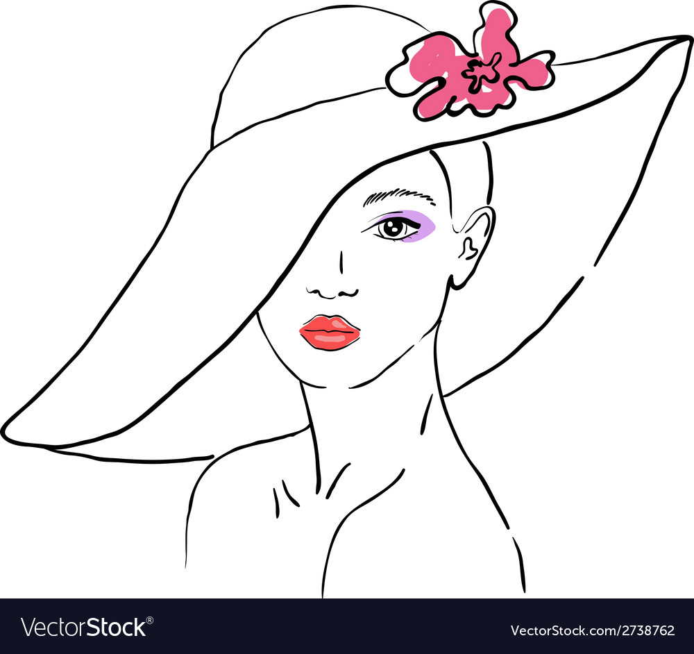 A sketch of the woman in a hat with flower vector | Price: 1 Credit (USD $1)