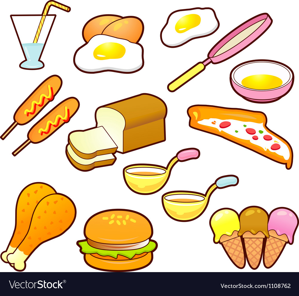 A wide variety of foods icons sets vector | Price: 1 Credit (USD $1)