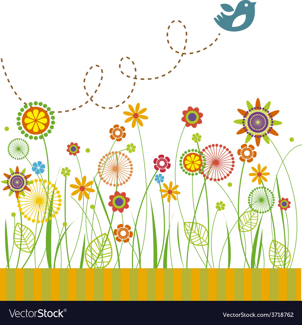 Beautiful flowers greeting card vector | Price: 1 Credit (USD $1)
