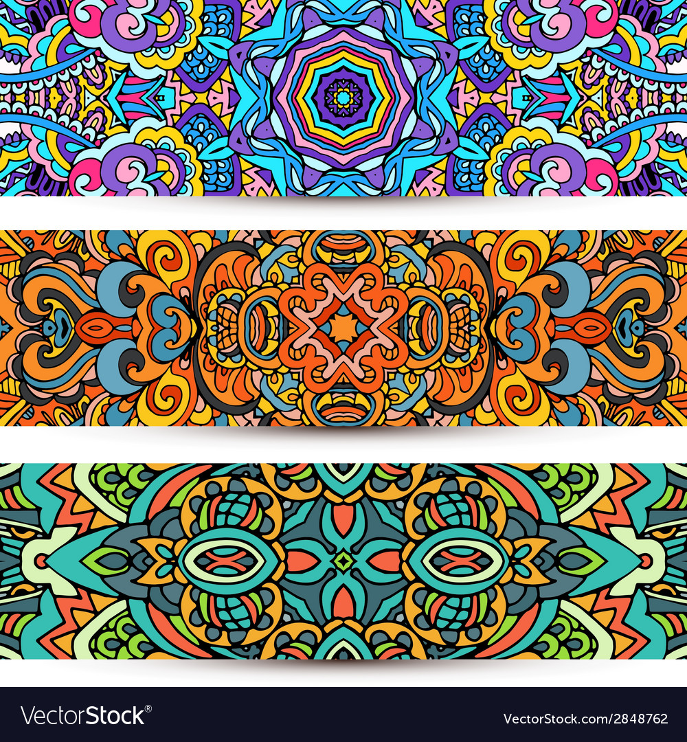 Festive ornamental banner ethnic tribal set vector | Price: 1 Credit (USD $1)