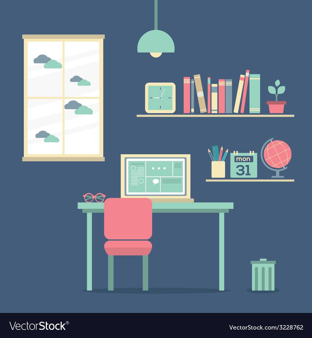 Flat design workplace vector   Price: 1 Credit (USD $1)