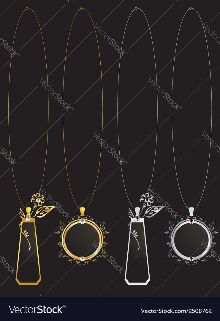 Gold and silver floral necklaces vector | Price: 1 Credit (USD $1)