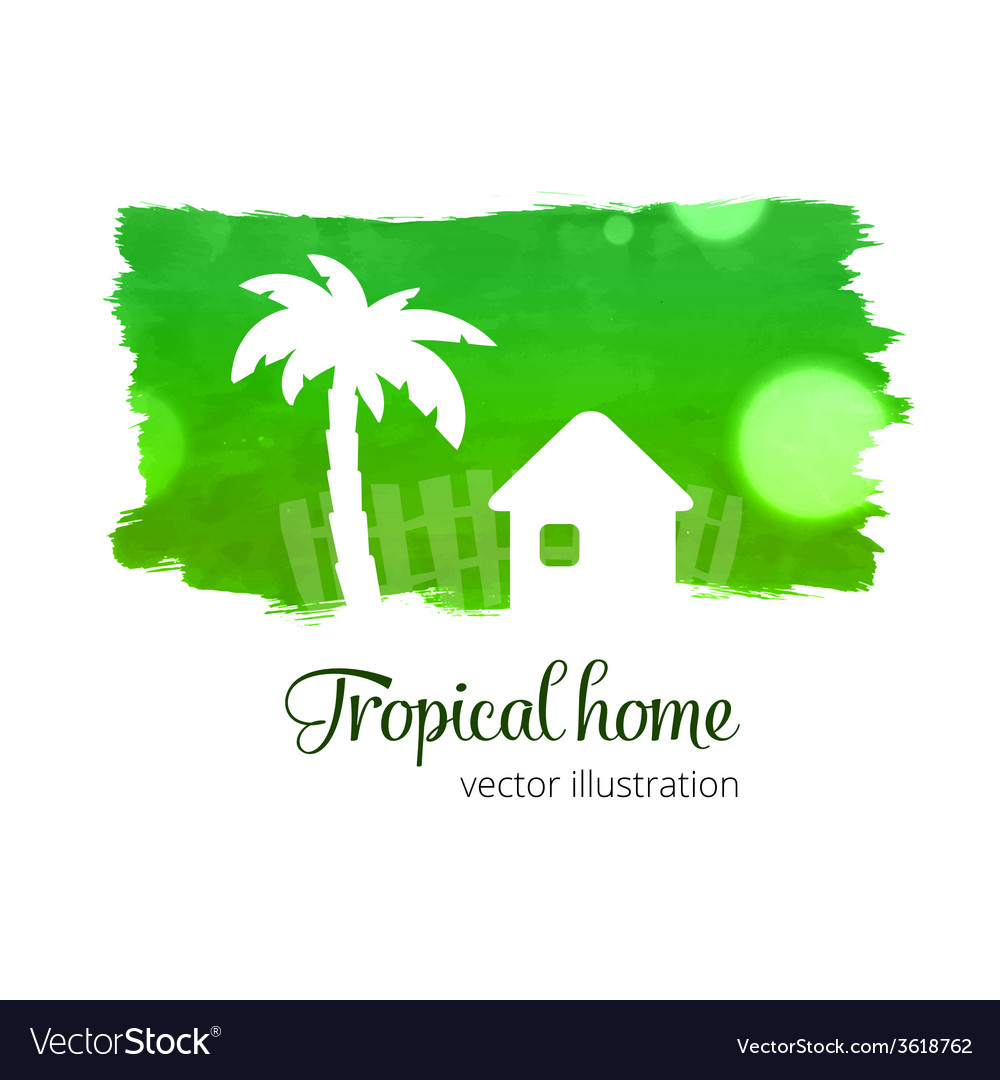 Green watercolor splash with home and palm vector | Price: 1 Credit (USD $1)