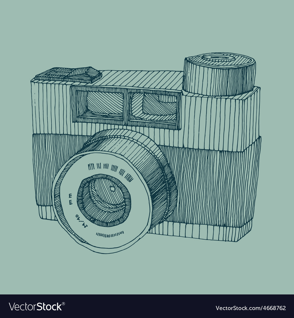 Hipster photo camera with flash engraved retro sty vector | Price: 3 Credit (USD $3)
