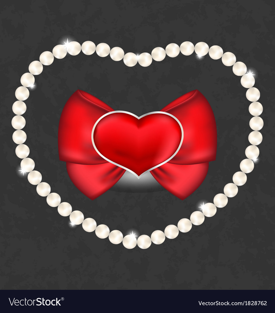 Red heart with bow and pearls for valentine day vector | Price: 1 Credit (USD $1)