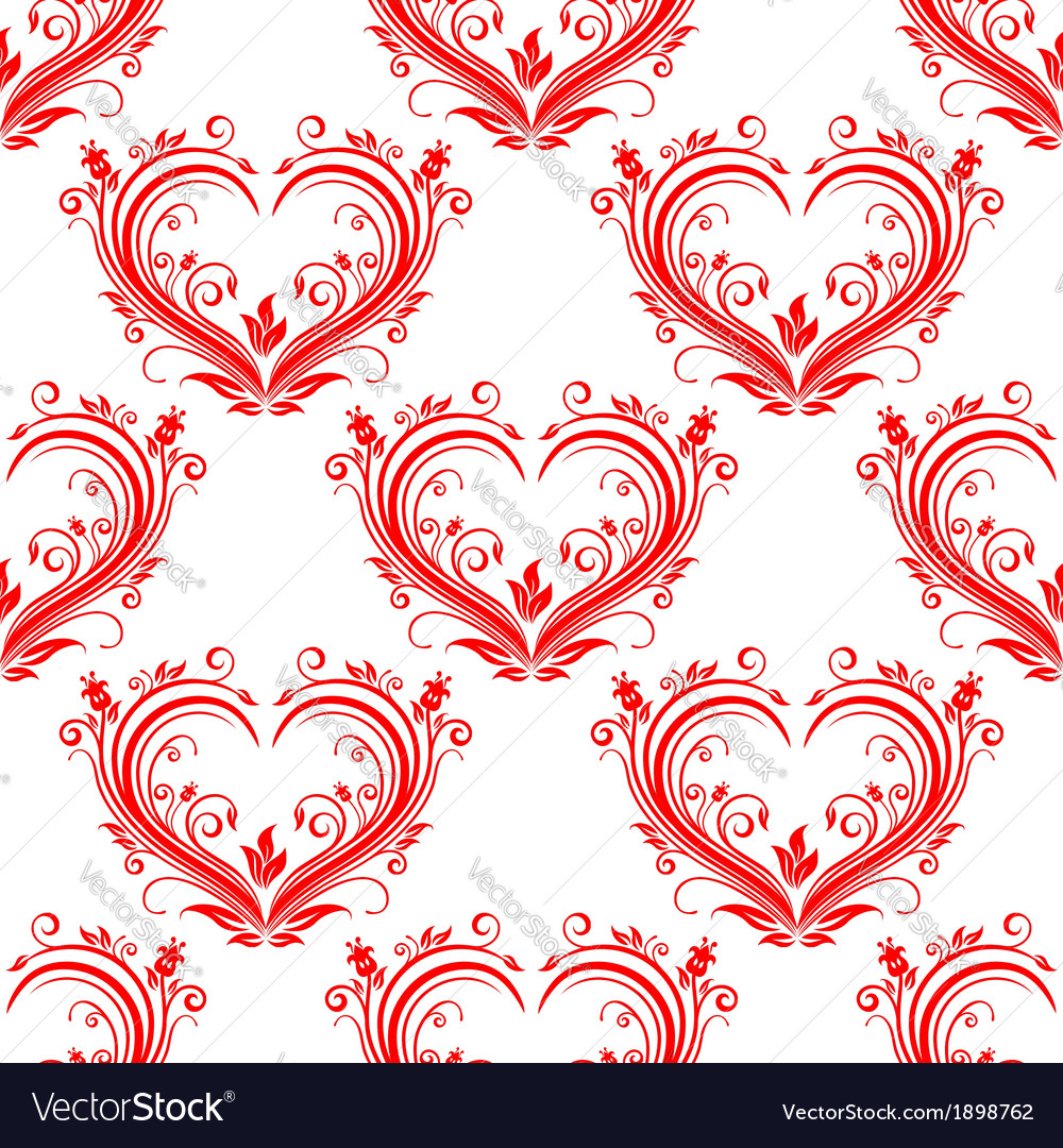 Seamless pattern ornate floral hearts vector | Price: 1 Credit (USD $1)