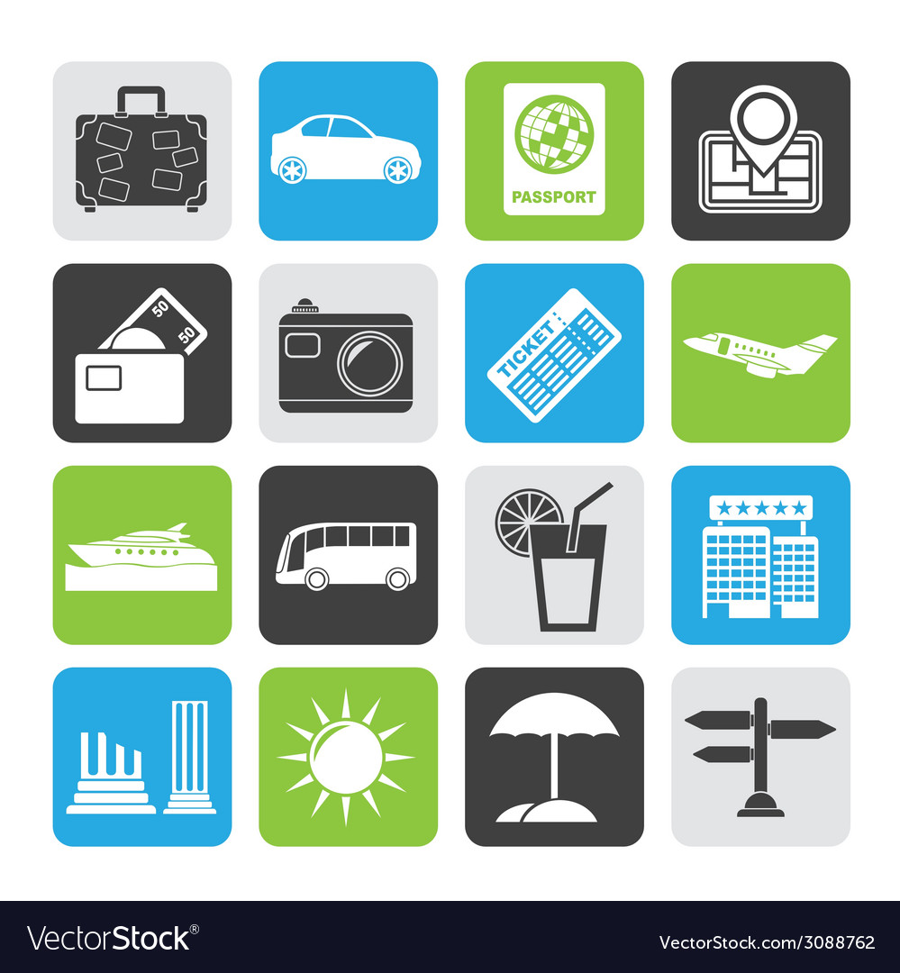 Silhouette travel and vacation icons vector | Price: 1 Credit (USD $1)