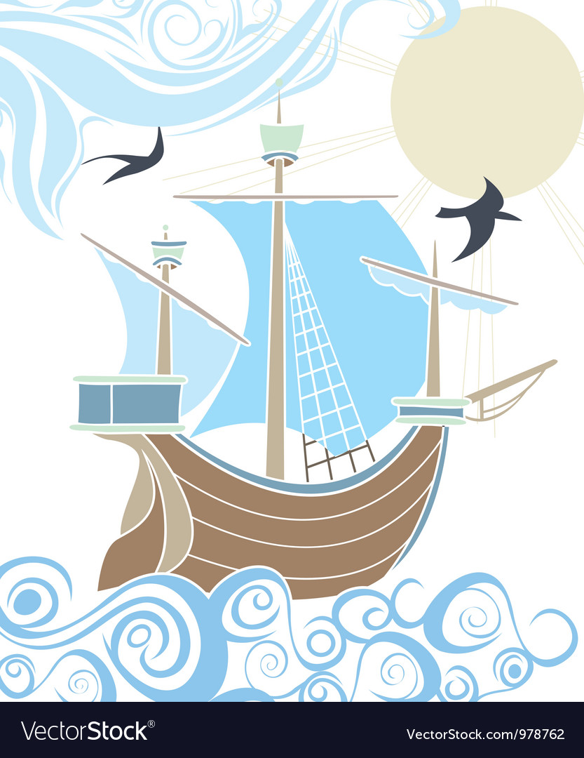 Stencil sailing vessel vector | Price: 1 Credit (USD $1)