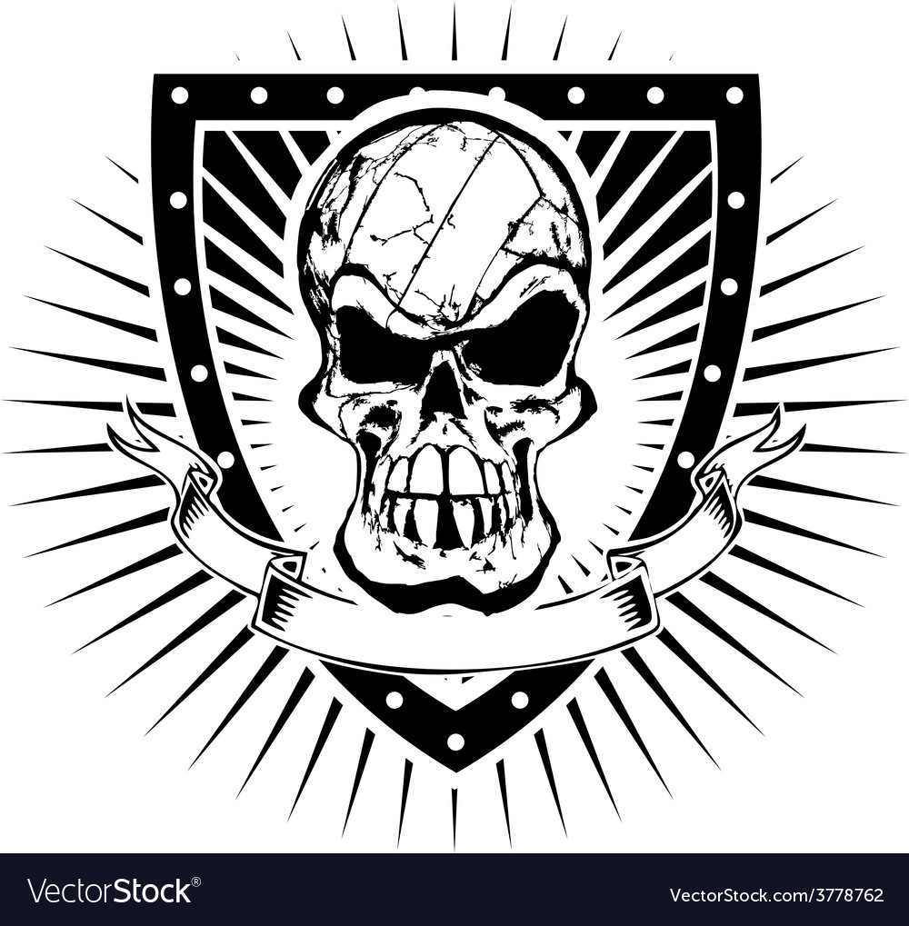 Volleyball skull shield vector | Price: 3 Credit (USD $3)