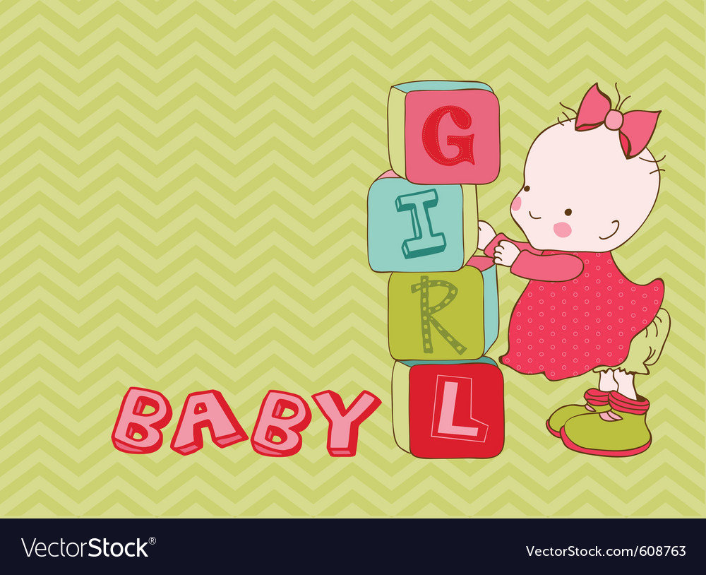 Baby girl arrival card with place for your text vector | Price: 1 Credit (USD $1)