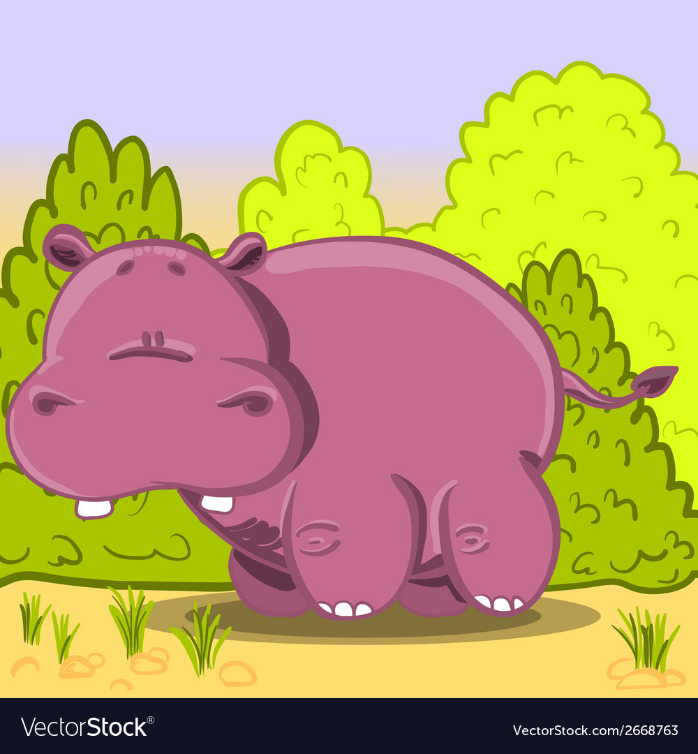 Cute cartoon hippo vector | Price: 1 Credit (USD $1)