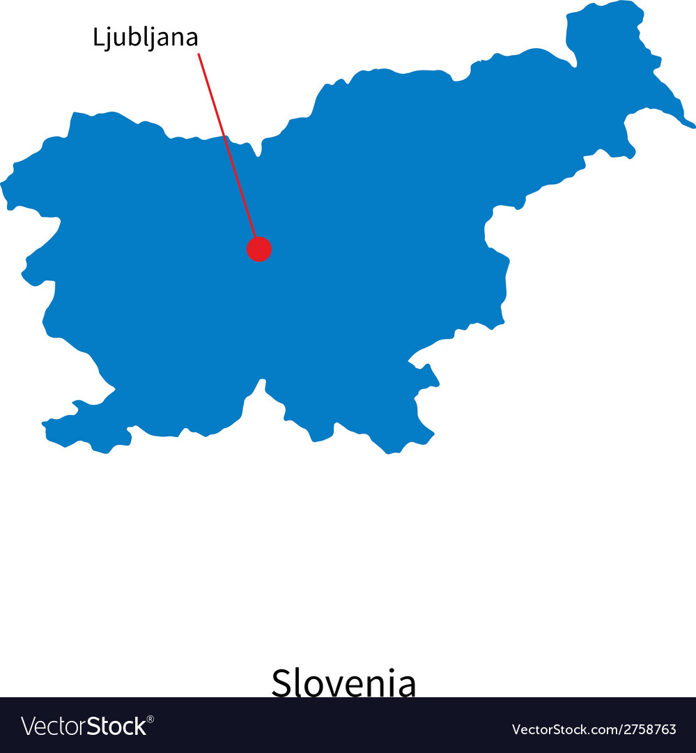 Detailed map of slovenia and capital city vector | Price: 1 Credit (USD $1)