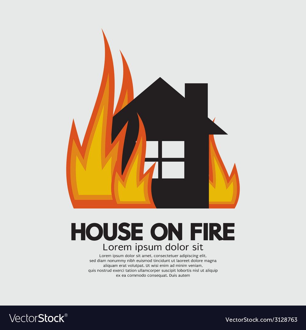 House on fire vector | Price: 1 Credit (USD $1)