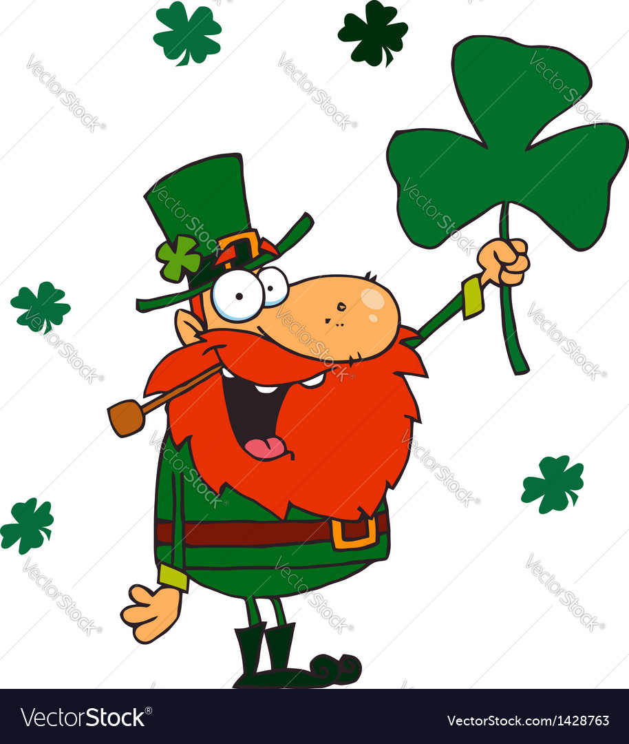 Male leprechaun holding up a clover vector | Price: 3 Credit (USD $3)