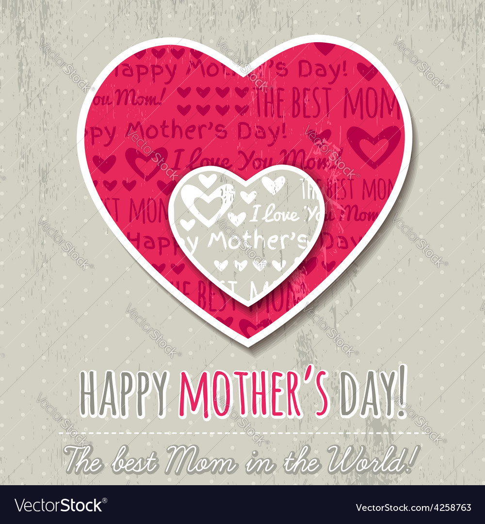 Mothers day card with hearts vector | Price: 1 Credit (USD $1)