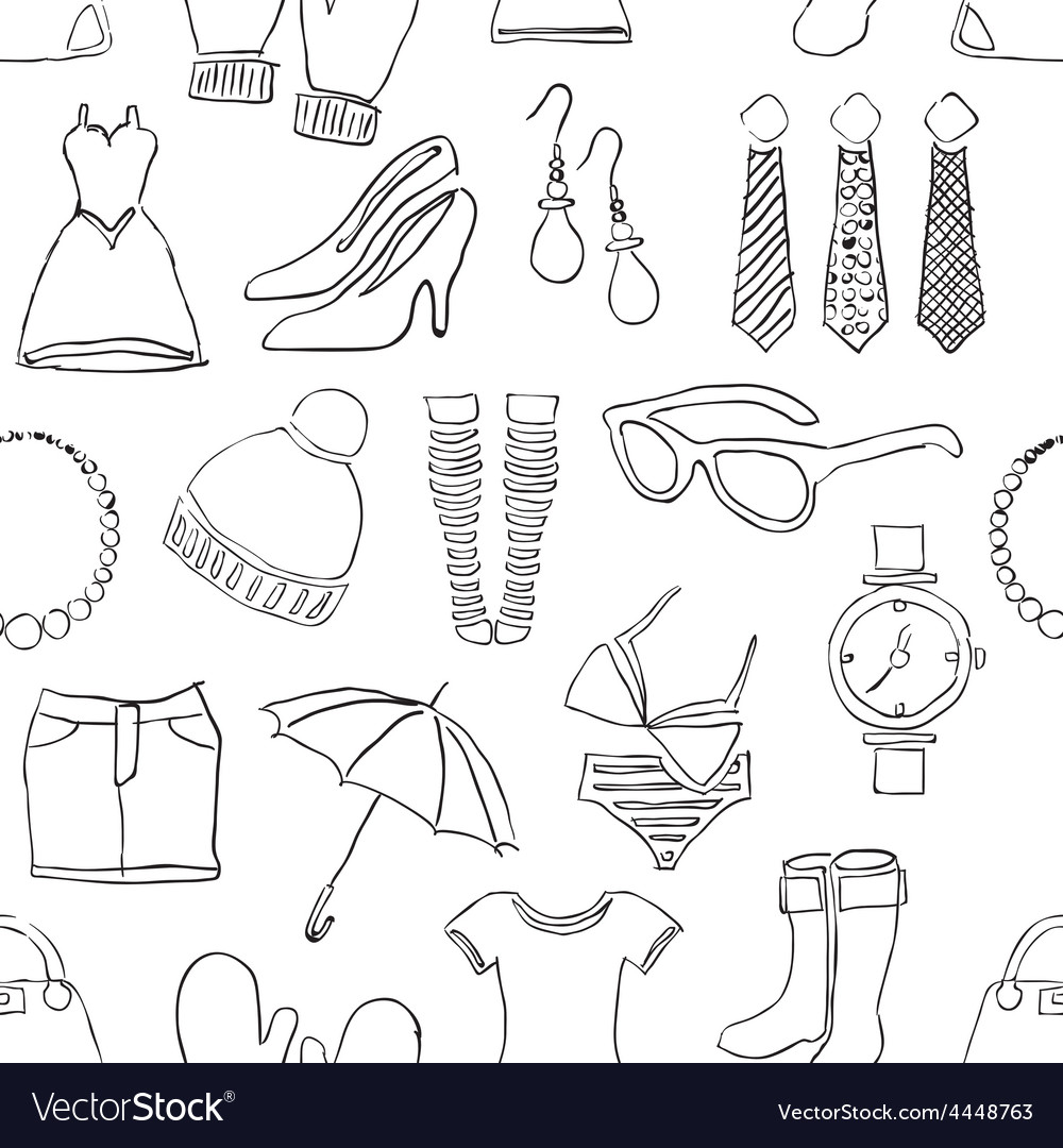 Seamless doodle fashion pattern vector | Price: 1 Credit (USD $1)