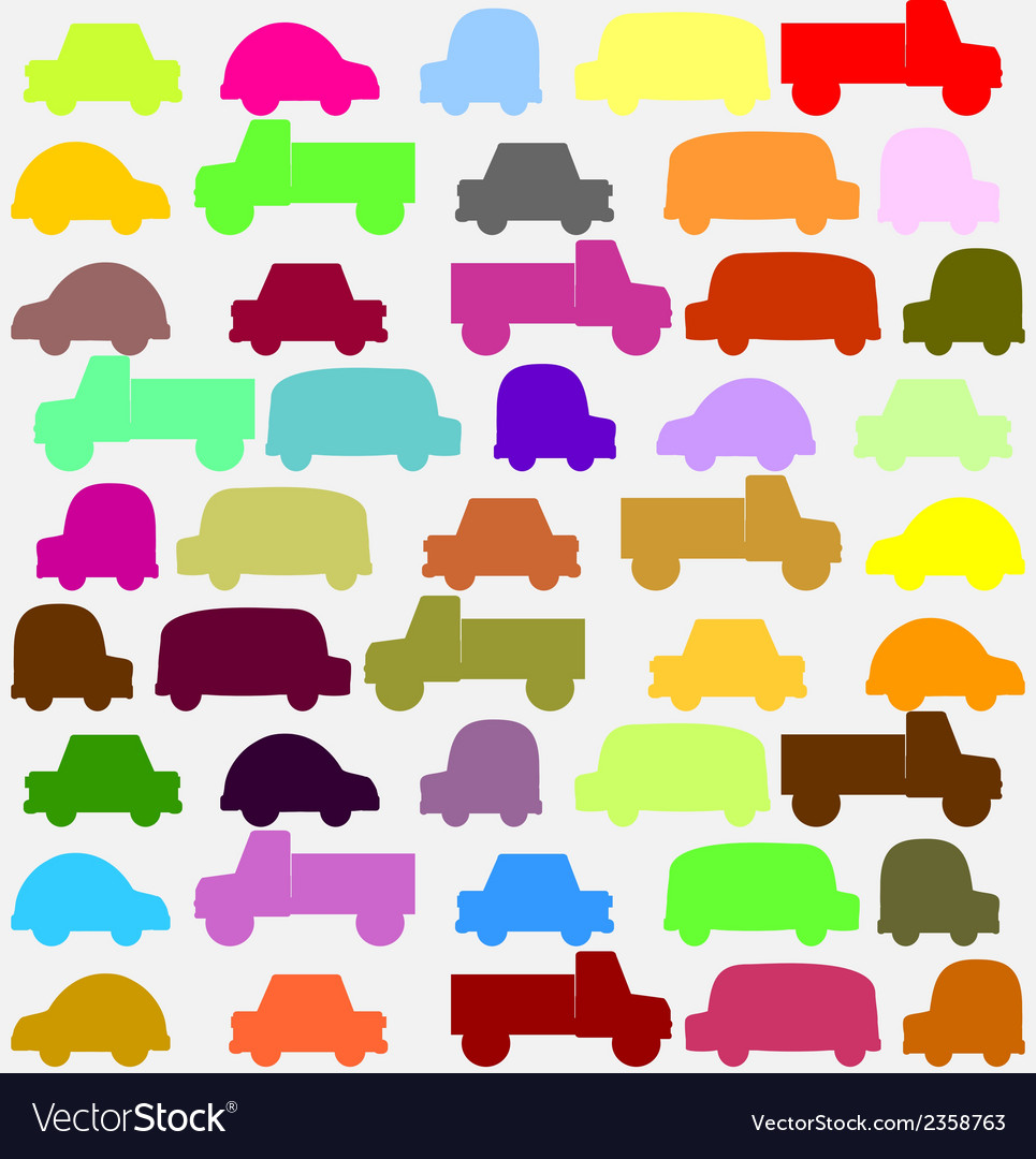 Seamless pattern with colorful little cars vector | Price: 1 Credit (USD $1)