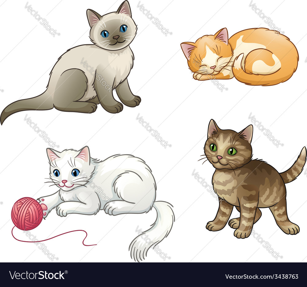 Set of pretty kittens eps10 vector | Price: 1 Credit (USD $1)
