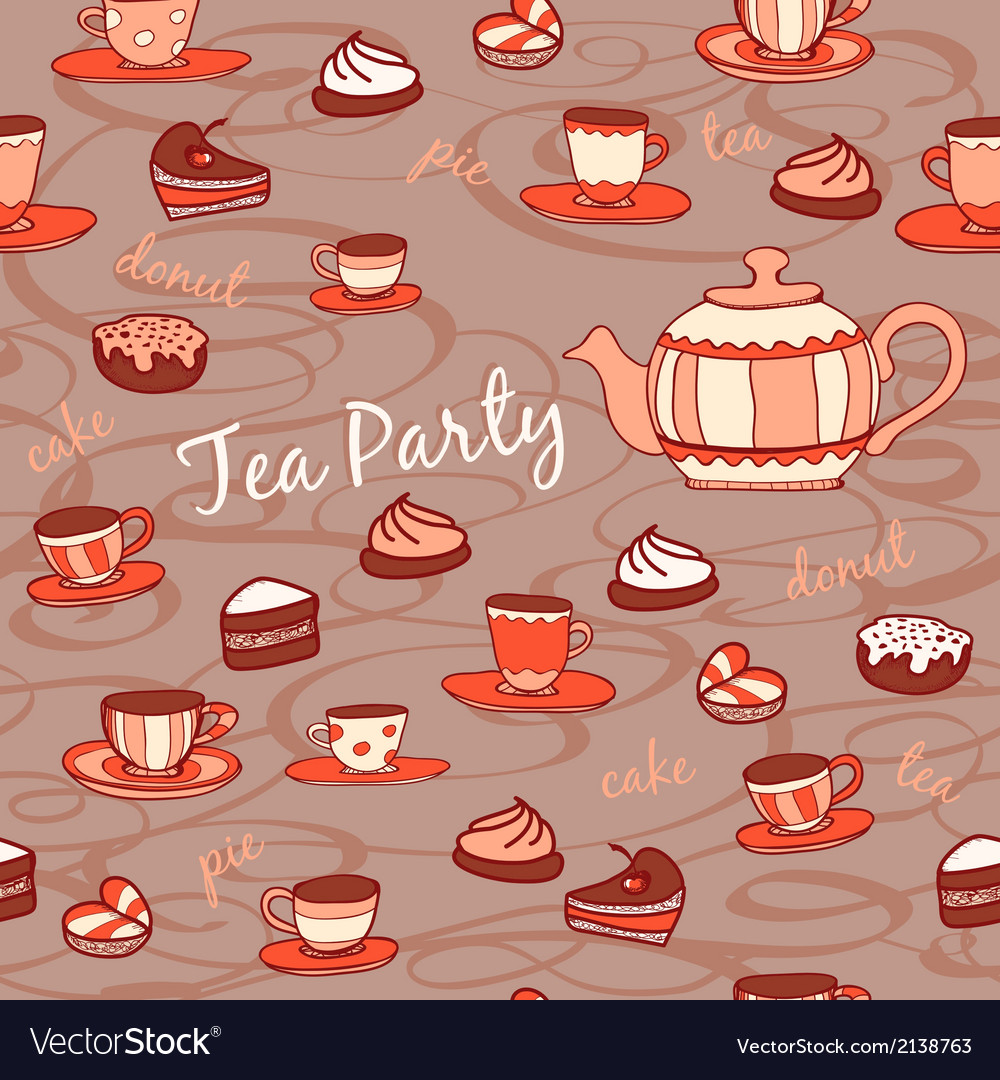 Tea party seamless pattern vector | Price: 1 Credit (USD $1)