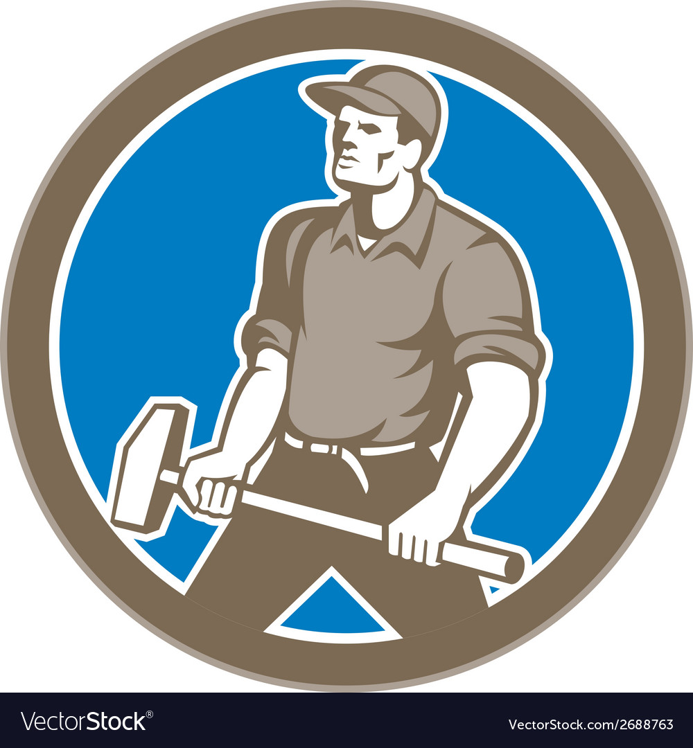 Union worker with sledgehammer circle retro vector | Price: 1 Credit (USD $1)