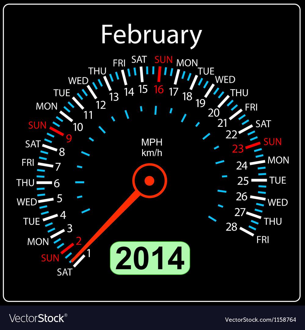 2014 year calendar speedometer car in february vector | Price: 1 Credit (USD $1)
