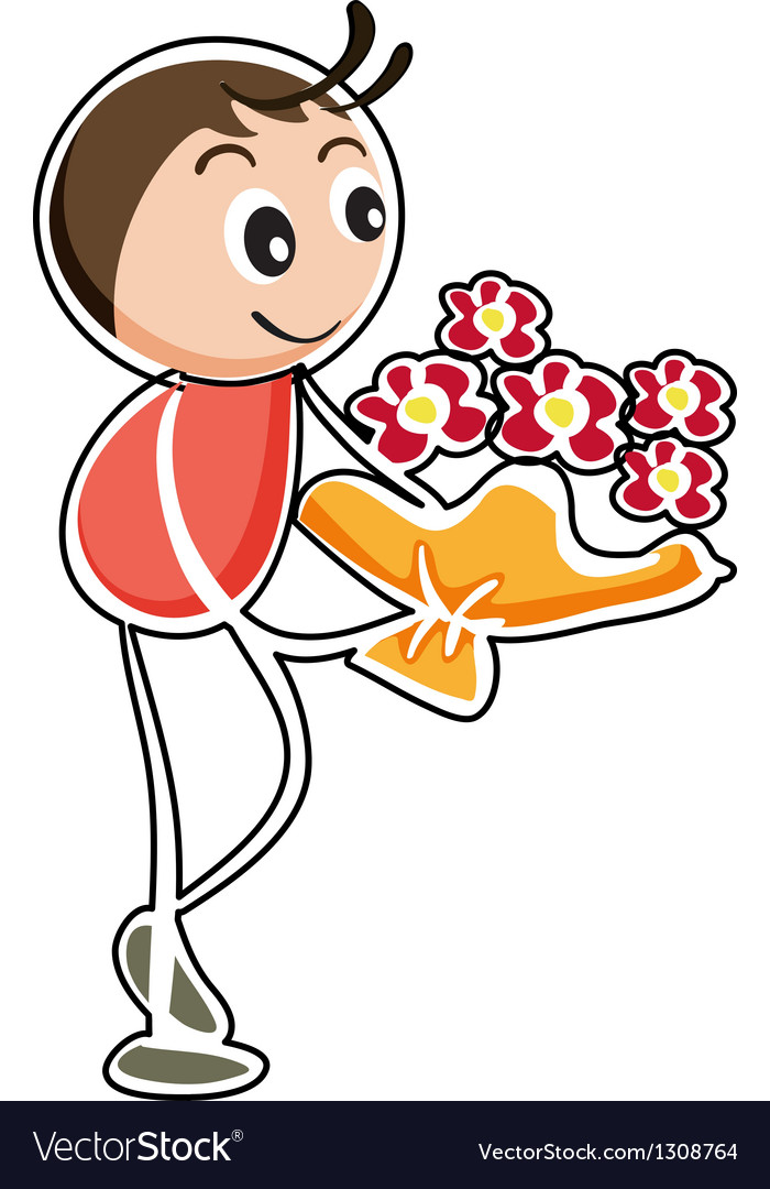 A boy holding a bouquet of flowers vector | Price: 1 Credit (USD $1)
