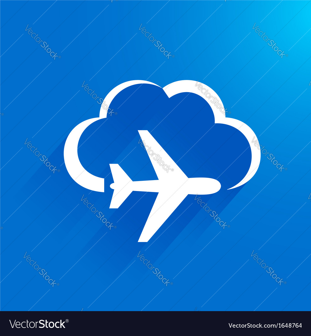 Airplane flight tickets air fly travel cloud vector | Price: 1 Credit (USD $1)