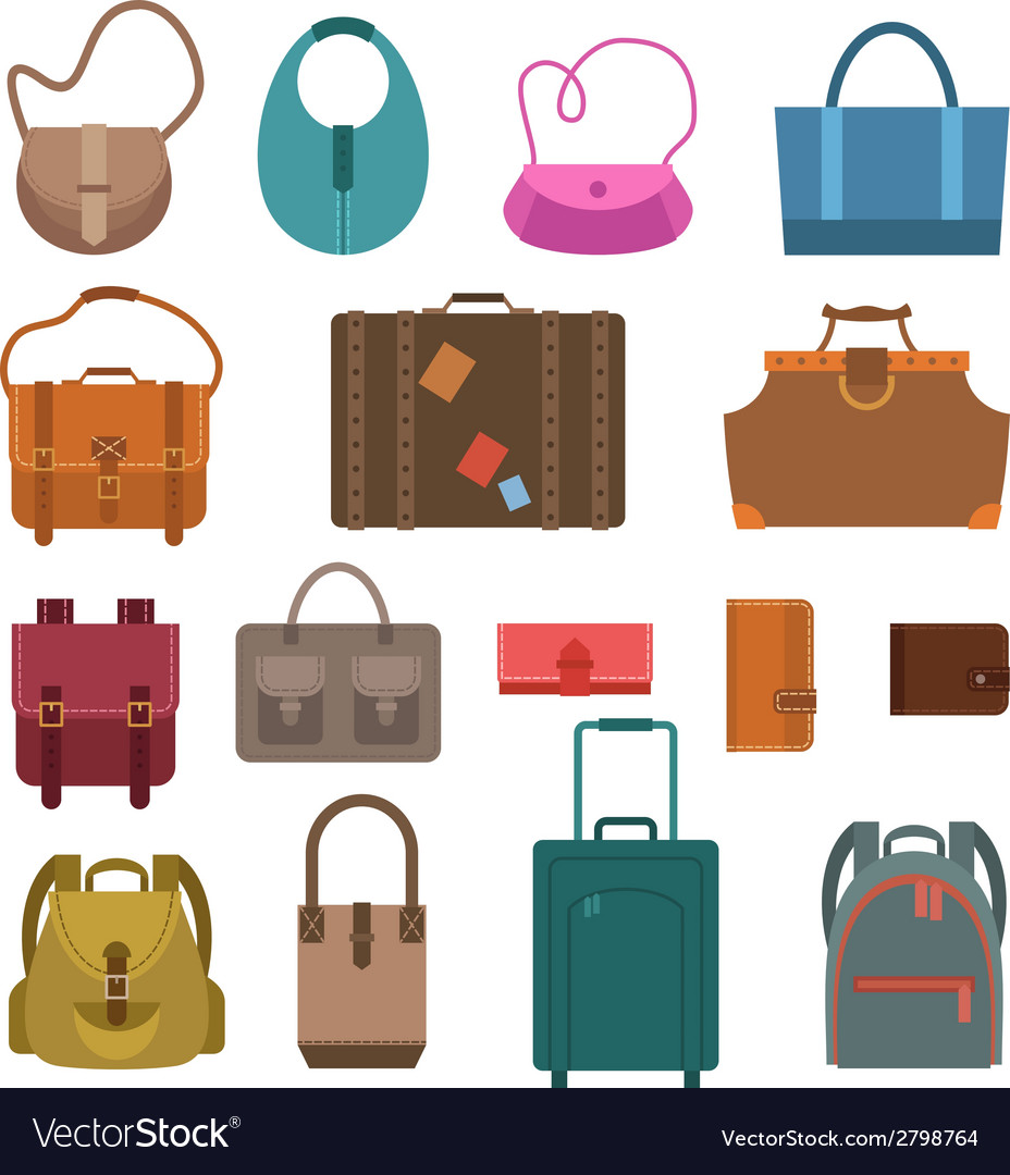 Bags colored icons set vector   Price: 1 Credit (USD $1)